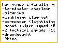 my army list