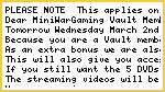 A note to all Vault Members